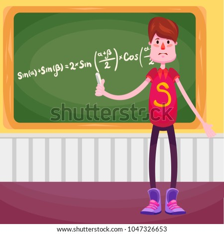 The schoolboy, student stands at the blackboard with chalk in his hands and shows that he wrote the formula from trigonometry
