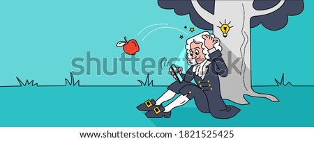 The scientist came up with a brilliant idea. Newton sits under a tree.