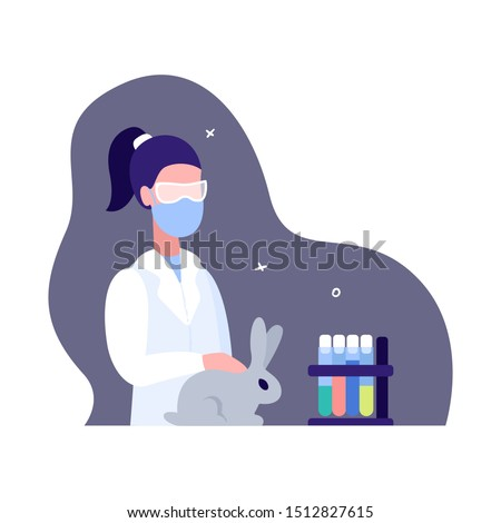 The scientist studies the behavior of animals in artificial laboratory conditions. The doctor in a gauze mask strokes an experimental rabbit. Research and animal experiments. The science banner.