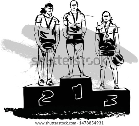 The scketch of women endurance competition winners