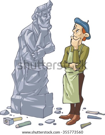 the sculptor is thinking  about