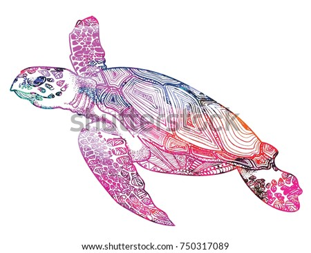 The Sea Turtle Swims Meditative Coloring Of Antistress Arrows Strips Scales