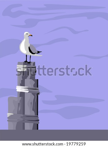 the seagull on pilings vector