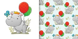 The seamless illustration of the rhino holding the colourful balloon and catch the butterfly
