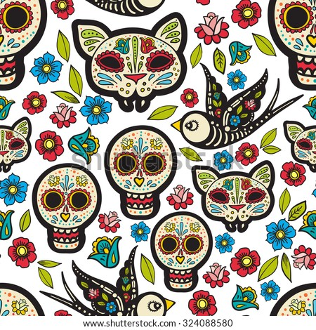 The Seamless Of Day Dead A Traditional Holiday In Mexico Skulls Ribbons For Design T Shirtcloth
