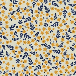 the seamless pattern is vintage . pale beige background. small yellow flowers and dark blue leaves. trendy print for textiles and wallpaper.
