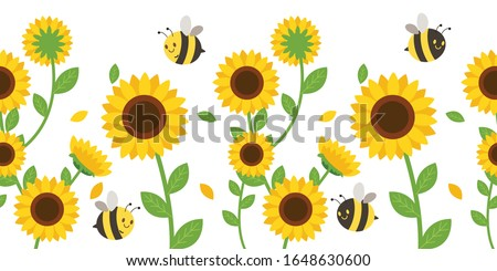 The Seamless pattern of sunflower and leaves on background in flat vector style. illustation for background , banner, label and greeting card. Foto stock ©