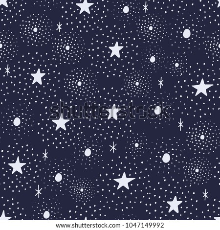 The seamless pattern with stars and dots. Hand drawn repeat background for your designs. Can be used for paper, branding, packaging, fabric, decor, posters, cards, nursery art, etc.
