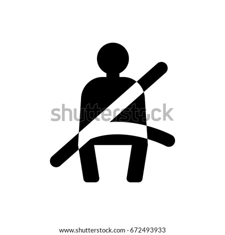 The seat belt icon. Safety belt, car symbol. Flat design. Stock - Vector illustration