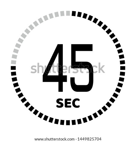 The 45 second countdown timer or digital counter timer clock vector icon. Stopwatch vector icon, digital timer.   For smartphone UI or UX countdown timer design.