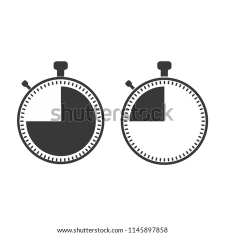 The 45 seconds, minutes stopwatch icon on white background. Clock and watch, timer, countdown symbol.  Web, Logo, Sign, App. Flat design. Vector illustration EPS 10.