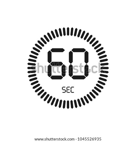 The 60 seconds, stopwatch vector icon, digital timer. Clock and watch, timer, countdown symbol.