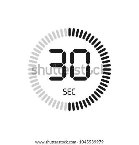 The 30 seconds, stopwatch vector icon, digital timer. clock and watch, timer, countdown symbol.