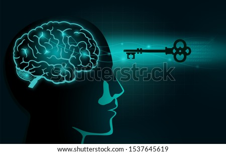The Secret Key move into human head with brain inside. Illustration about Secret of Mindset and Attitude.