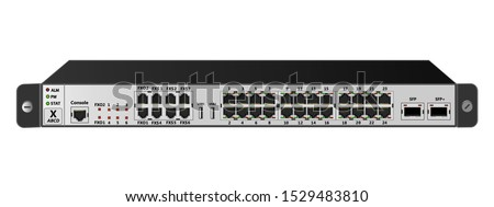 The service router for mounting with a 19-inch rack has 24 Ethernet ports, 1  SFP port, 1  SFP+ port, 2 USB ports, 6 FXS ports, 2 FXO port. Designed for carrier-class networks. Vector illustration.