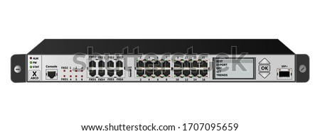 The service router for mounting with a 19-inch rack has 16 Ethernet ports, SFP+ port, USB ports, 6 FXS ports, 2 FXO port and Router Management Screen. Vector illustration.