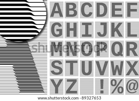 The set consists of cells of a grid for creation of a background of diplomas and certificates. Letters of the English alphabet and figure consist of lines of a variable thickness.