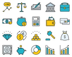 The set contains 20 fully scalable vector icons with outline style.
