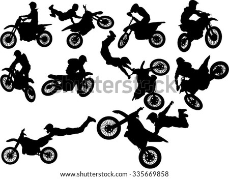 the set of biker silhouettes