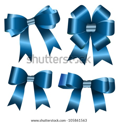 the set of blue ribbon bow