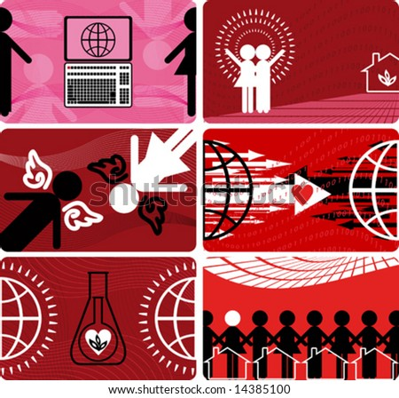 The set of cards. Red - stock vector