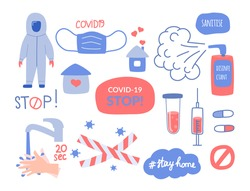 The set of elements on the subject of coronavirus, Coved 19, hygiene and medicine. Vector illustration in flat style.