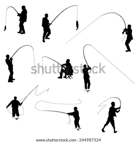 The Set of Fishermen Silhouettes. Vector Image