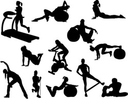 The set of 12 fitness silhouette