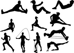 The set of 11 fitness silhouette