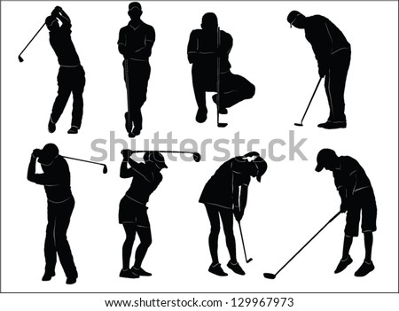 The set of golf players silhouette