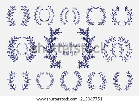stock-vector-the-set-of-hand-drawn-vector-circular-decorative-elements-for-your-design-leaves-swirls-floral