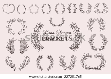 The set of hand drawn vector decorative elements for your design. Leaves, swirls, floral elements, circular frames, borders.