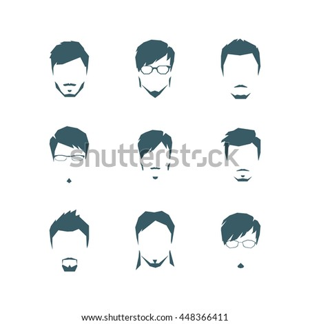 The set of man's hairdresses in style flat. Vector.