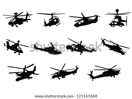 the set of military helicopter
