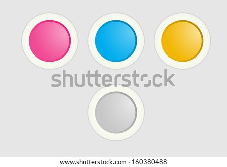 The set of pink, blue and yellow radio buttons / Radio button set / Radio button