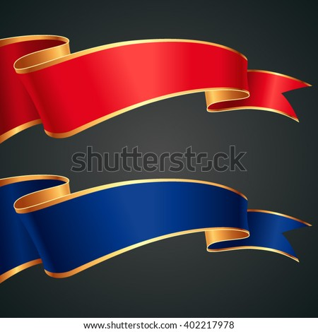 The set of red and blue ribbons with gold edges