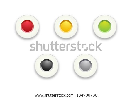 The set of red, yellow and green radio buttons / Radio button set / Radio button