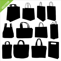 The set of shopping bag silhouettes vector
