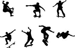 The set of skateboarder silhouette