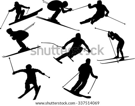 skier jump download free vector art stock graphics images Snowmobile Jumping Drawings the set of skier silhouette