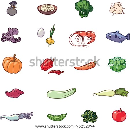 The set of the food products illustrations. There are the vegetables, the sea food, the noodles and the others.