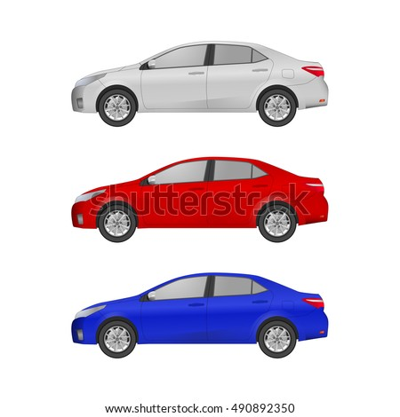 the set of three realistic cars