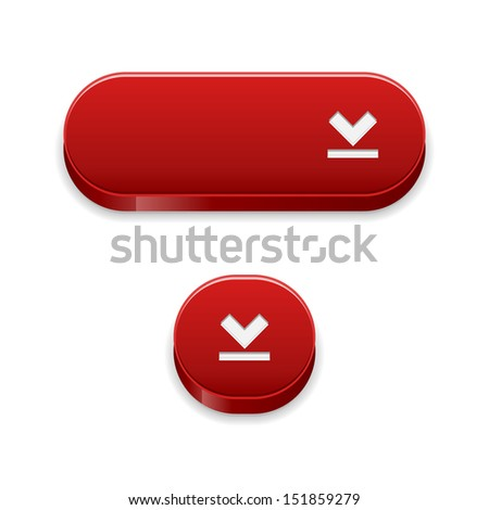 The set of two blank red buttons with download symbol / The set of two red download buttons / The download button
