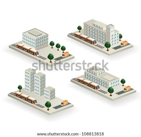 The set of vector buildings with urban transport on a white background