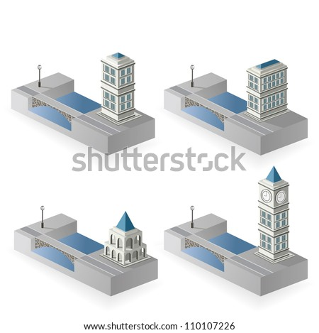 The set of vector isometric houses to the river