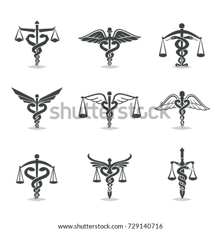 The set scales, justice, Academy, health care logos, emblems and design elements. Labels and badges Law firm, health, medicine, business.