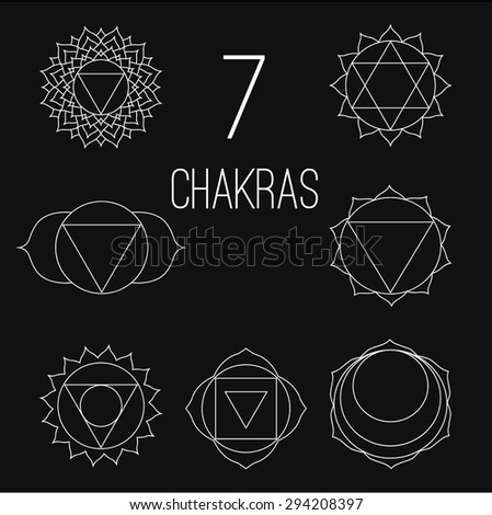 the seven chakras vector set