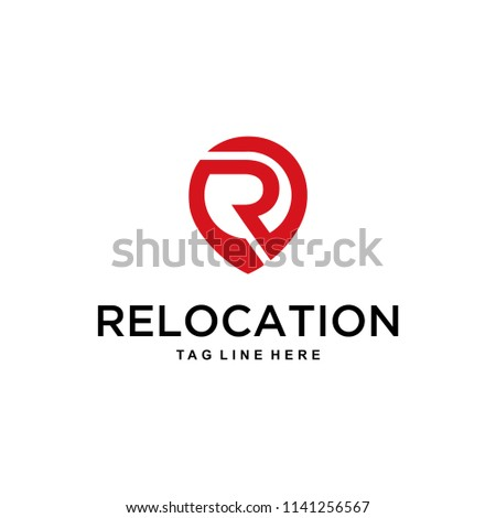 The shape of the letter R in join with the pin of a very modern location, clean and easy to remember the shape logo design. Stock fotó ©
