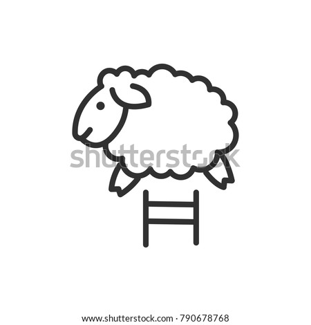 The sheep jumps. linear icon. Line with Editable stroke