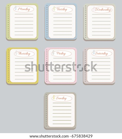 The sheets of the planner in a cute dashed line. Diary.To Do List. The names of the days of the week. The Style Of Provence. Gentle colors. Vector illustration.
